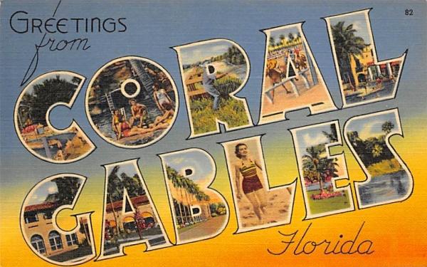 Greetings from Coral Gables, FL, USA Corla Gables, Florida Postcard