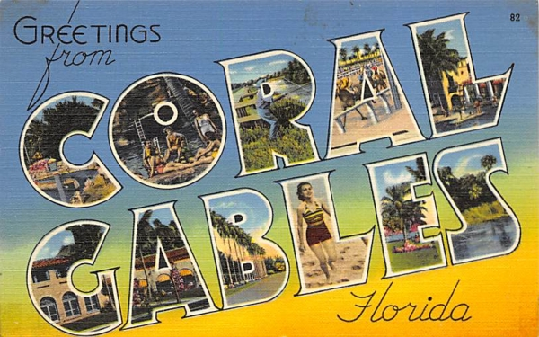 Greetings from Coral Gables, FL, USA Florida Postcard