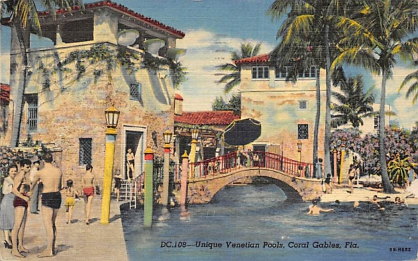 Unique Venetian Pools Coral Gables, Florida Postcard
