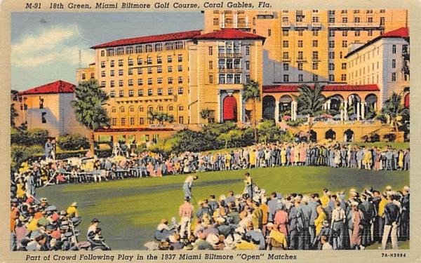 18th Green, Miami Biltmore Golf Course Coral Gables, Florida Postcard