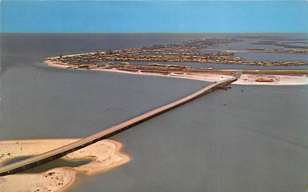 Looking north over the New Clearwater Pass Bridge Clearwater Beach, Florida Postcard