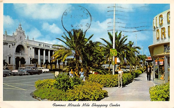 Famous Miracle Mile Shopping Center Coral Gables, Florida Postcard