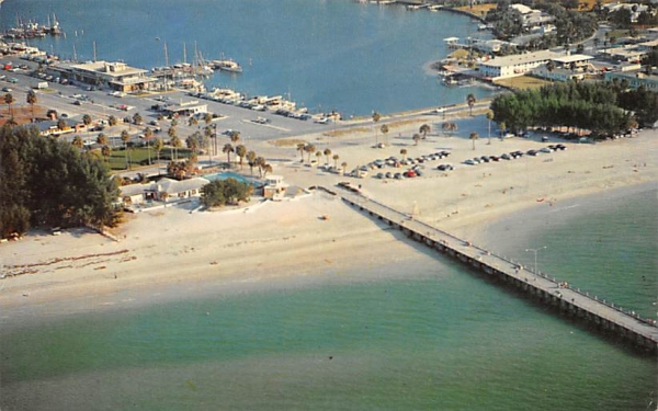 Clearwater Beach, showing fishing pier and Marina Florida Postcard