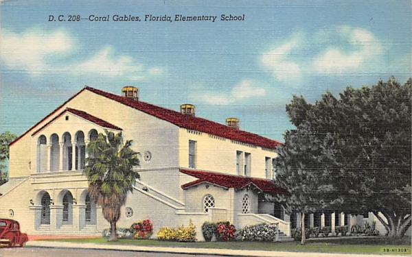 Elementary School Coral Gables, Florida Postcard