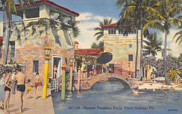 Unique Venetians Pools Coral Gables, Florida Postcard