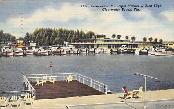 Clearwater Municipal Marina & Boat Slips Clearwater Beach, Florida Postcard