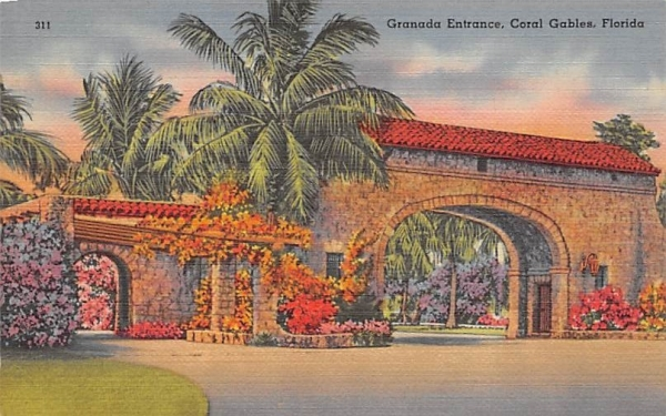Granada Entrance Coral Gables, Florida Postcard