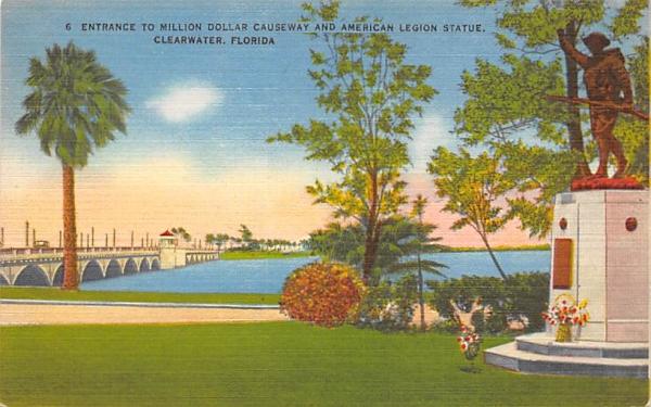 Million Dollar Causeway, American Legion Statue Clearwater, Florida Postcard
