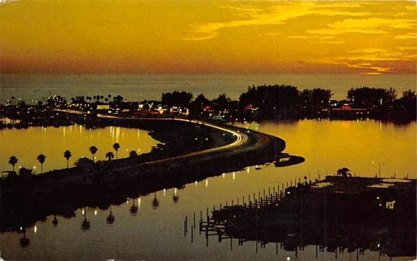 Clearwater Beach at Twilight Florida Postcard