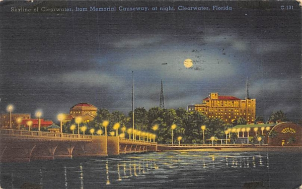 Skyline of Cleatwater from Memorial Causeway Clearwater, Florida Postcard