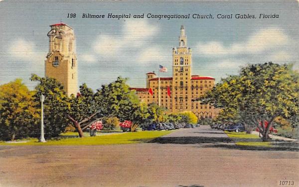 Biltmore Hospital and Congregational Church Coral Gables, Florida Postcard