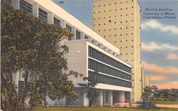 Merrick Building, University of Miami Coral Gables, Florida Postcard