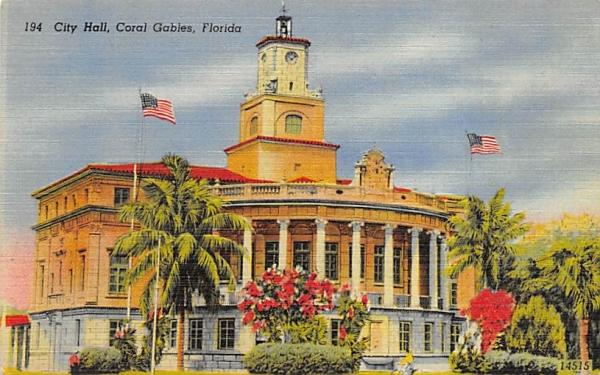 City Hall Coral Gables, Florida Postcard