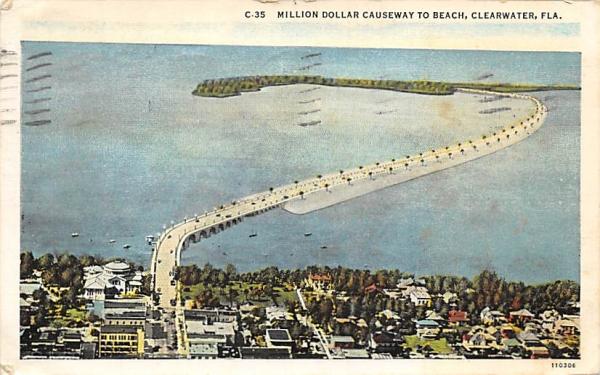 Million Dollar Causeway to Beach Clearwater, Florida Postcard