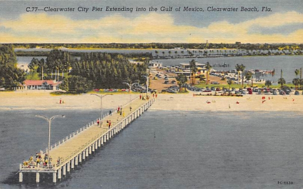Clearwater City Pier Extending, Gulf of Mexico, FL, USA Clearwater Beach, Florida Postcard