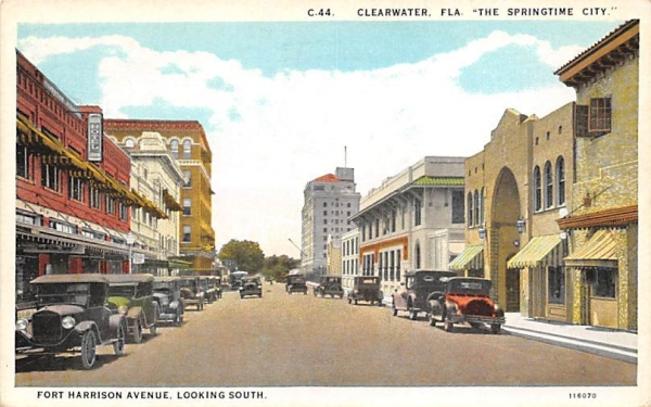 Fort Harrison Avenue, Looking South Clearwater, Florida Postcard