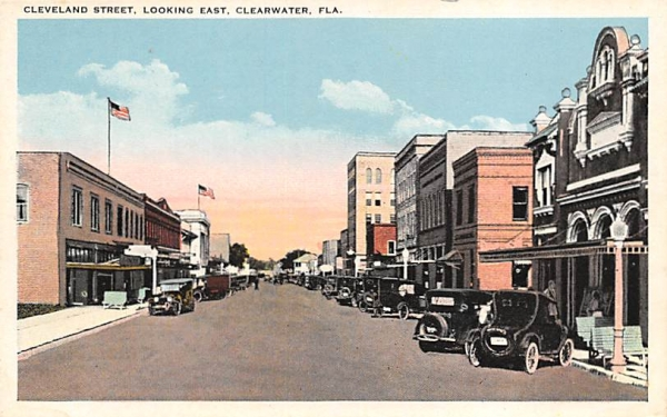 Cleveland Street, Looking East Clearwater, Florida Postcard