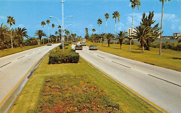 Causeway connecting Clearwater to its beaches Florida Postcard
