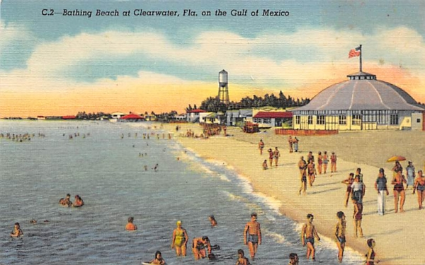 Bathing Beach  Clearwater, Florida Postcard