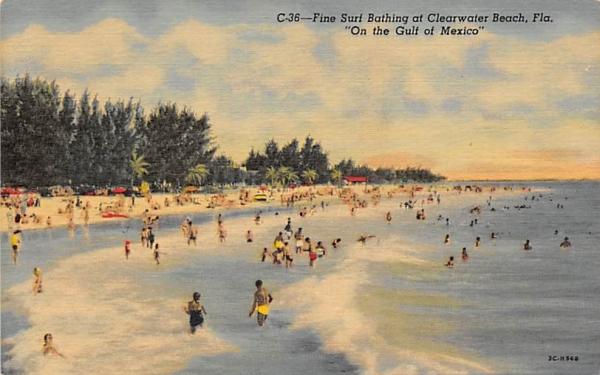 Fine Surf Bathing at Clearwater Beach, FL, USA Florida Postcard