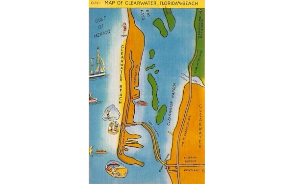 Map of Clearwater, Florida and Beach, USA Postcard