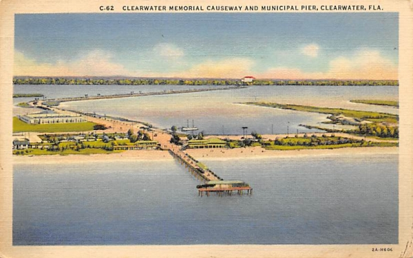 Clearwater Memorial Causeway and Municipal Pier Florida Postcard