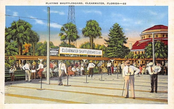 Playing Shuffleboard Clearwater, Florida Postcard