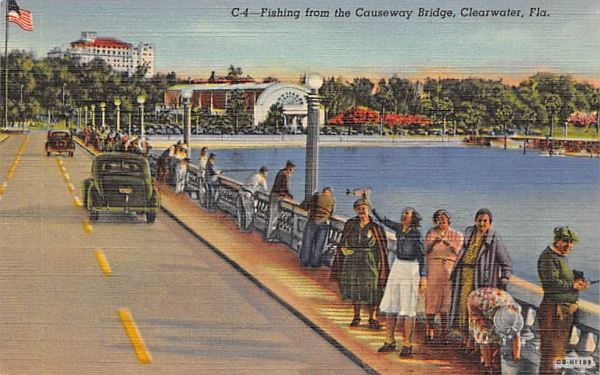 Fishing from the Causeway Bridge Clearwater, Florida Postcard