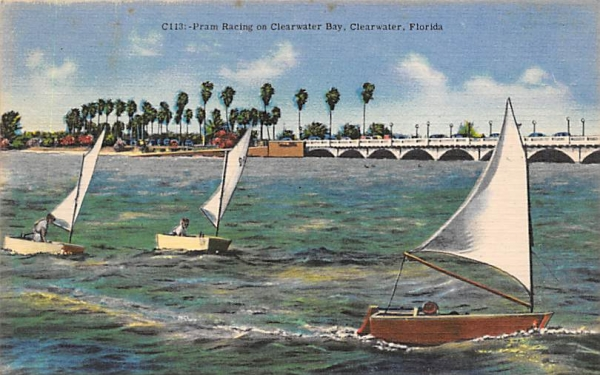 Pram Racing on Clearwater Bay Florida Postcard
