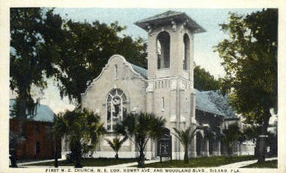 First M. E. Church - De Land, Florida FL Postcard