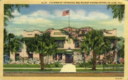 Chamber of Commerce Building - De Land, Florida FL Postcard