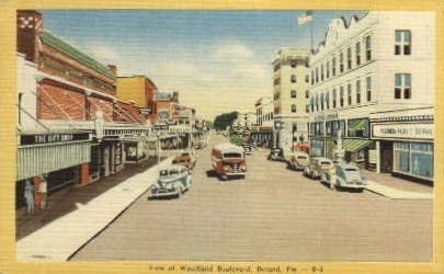 Woodland Boulevard - De Land, Florida FL Postcard