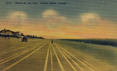 Tracks on the Sand - Daytona Beach, Florida FL Postcard