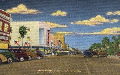 Beach Street - Daytona Beach, Florida FL Postcard