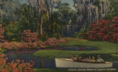 Electric Boats - Cypress Gardens, Florida FL Postcard
