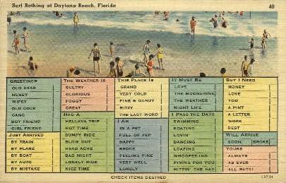 Surf Bathing - Daytona Beach, Florida FL Postcard