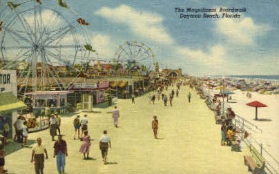Boardwalk - Daytona Beach, Florida FL Postcard