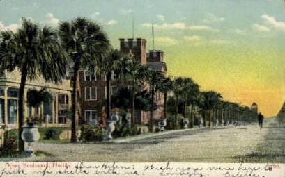 Ocean Boulevard - Daytona Beach, Florida FL Postcard