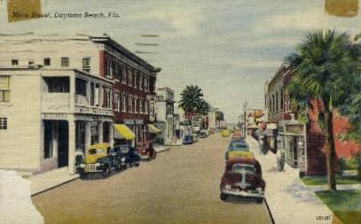 Main Street - Daytona Beach, Florida FL Postcard