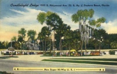 Candlelight Lodge - Daytona Beach, Florida FL Postcard