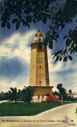 Watertower - Coral Gables, Florida FL Postcard