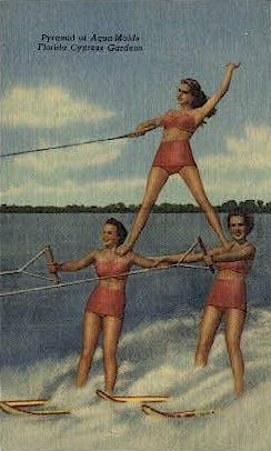 Pyramid of Aquamaids - Cypress Gardens, Florida FL Postcard