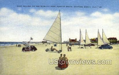 Sand Sailing - Daytona, Florida FL Postcard