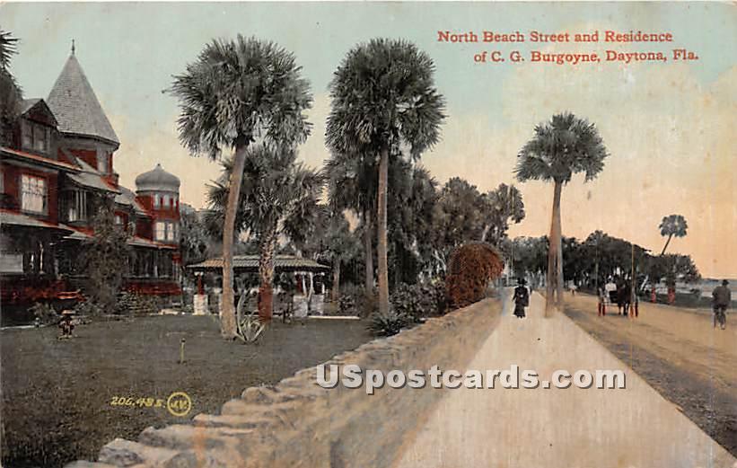 Residence of CG Burgoyne, North Beach Street - Daytona, Florida FL Postcard