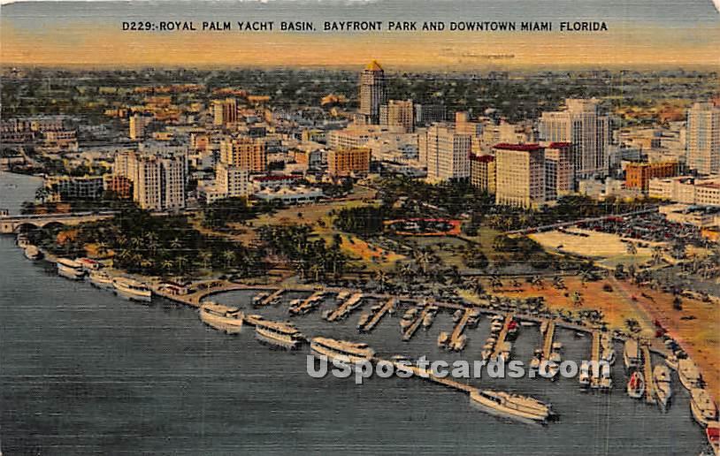 Royal Palm Yacht Basin - Downtown Miami, Florida FL Postcard