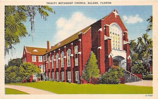 Trinity Methodist Church De Land, Florida Postcard