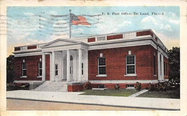 U. S. Post Office De Land, Florida Postcard