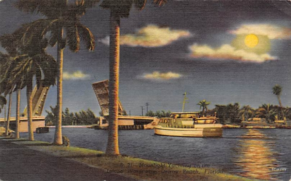 Moonlight Yachting  Delray Beach, Florida Postcard