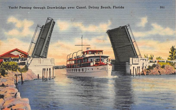 Yacht Passing through Drawbridge over Canal Delray Beach, Florida Postcard
