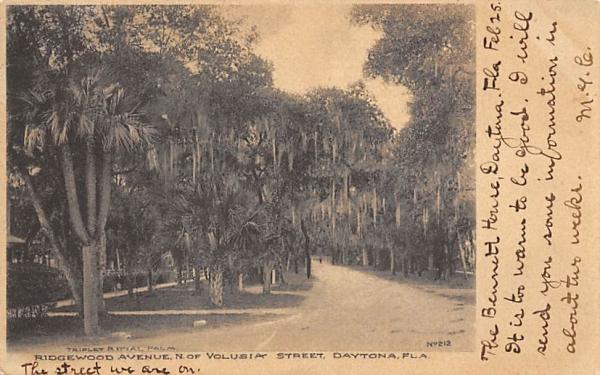 Ridgewood Avenue, N. of Volusia Street Daytona, Florida Postcard